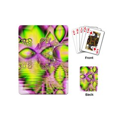 Raspberry Lime Mystical Magical Lake, Abstract  Playing Cards (mini) by DianeClancy