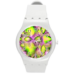Raspberry Lime Mystical Magical Lake, Abstract  Plastic Sport Watch (medium) by DianeClancy