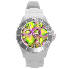 Raspberry Lime Mystical Magical Lake, Abstract  Plastic Sport Watch (large) by DianeClancy