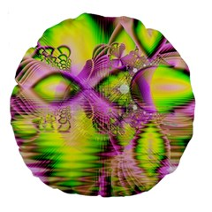 Raspberry Lime Mystical Magical Lake, Abstract  18  Premium Round Cushion
