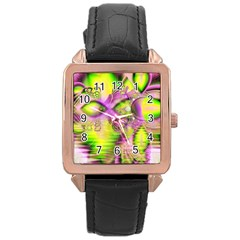 Raspberry Lime Mystical Magical Lake, Abstract  Rose Gold Leather Watch  by DianeClancy