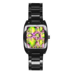 Raspberry Lime Mystical Magical Lake, Abstract  Stainless Steel Barrel Watch by DianeClancy