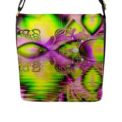 Raspberry Lime Mystical Magical Lake, Abstract  Flap Closure Messenger Bag (large) by DianeClancy