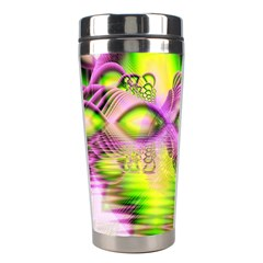 Raspberry Lime Mystical Magical Lake, Abstract  Stainless Steel Travel Tumbler by DianeClancy