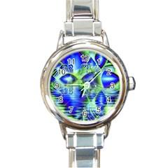 Irish Dream Under Abstract Cobalt Blue Skies Round Italian Charm Watch by DianeClancy