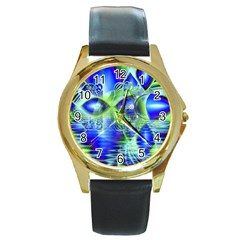 Irish Dream Under Abstract Cobalt Blue Skies Round Leather Watch (gold Rim)  by DianeClancy