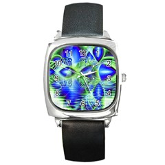 Irish Dream Under Abstract Cobalt Blue Skies Square Leather Watch by DianeClancy