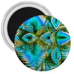 Crystal Gold Peacock, Abstract Mystical Lake 3  Button Magnet by DianeClancy