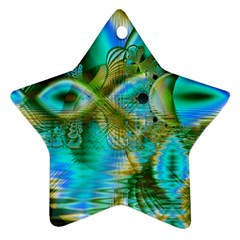Crystal Gold Peacock, Abstract Mystical Lake Star Ornament by DianeClancy