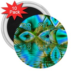 Crystal Gold Peacock, Abstract Mystical Lake 3  Button Magnet (10 Pack) by DianeClancy