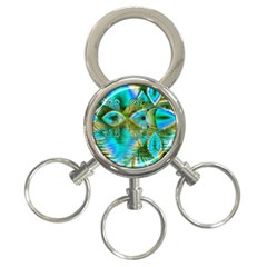 Crystal Gold Peacock, Abstract Mystical Lake 3 Ring Key Chain by DianeClancy