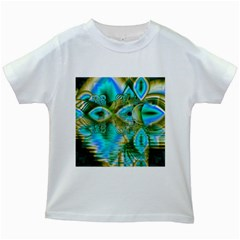 Crystal Gold Peacock, Abstract Mystical Lake Kids T Shirt (white)