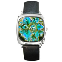 Crystal Gold Peacock, Abstract Mystical Lake Square Leather Watch by DianeClancy