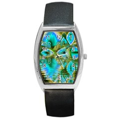 Crystal Gold Peacock, Abstract Mystical Lake Tonneau Leather Watch by DianeClancy