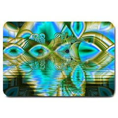 Crystal Gold Peacock, Abstract Mystical Lake Large Door Mat by DianeClancy