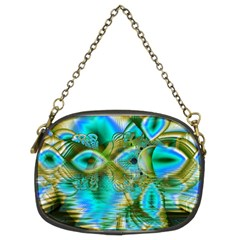Crystal Gold Peacock, Abstract Mystical Lake Chain Purse (two Sided)  by DianeClancy