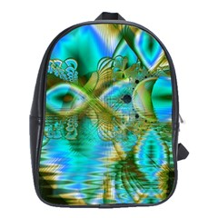 Crystal Gold Peacock, Abstract Mystical Lake School Bag (large) by DianeClancy