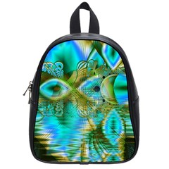 Crystal Gold Peacock, Abstract Mystical Lake School Bag (small) by DianeClancy