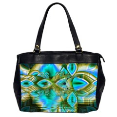 Crystal Gold Peacock, Abstract Mystical Lake Oversize Office Handbag (two Sides) by DianeClancy