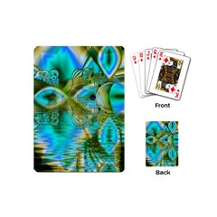Crystal Gold Peacock, Abstract Mystical Lake Playing Cards (mini) by DianeClancy