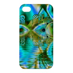 Crystal Gold Peacock, Abstract Mystical Lake Apple Iphone 4/4s Premium Hardshell Case by DianeClancy