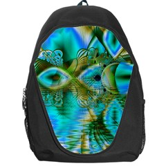 Crystal Gold Peacock, Abstract Mystical Lake Backpack Bag by DianeClancy