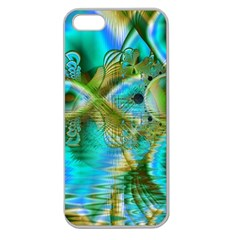 Crystal Gold Peacock, Abstract Mystical Lake Apple Seamless Iphone 5 Case (clear) by DianeClancy