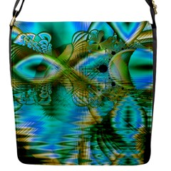 Crystal Gold Peacock, Abstract Mystical Lake Flap Closure Messenger Bag (small) by DianeClancy