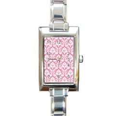 White On Soft Pink Damask Rectangular Italian Charm Watch by Zandiepants