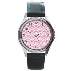 White On Soft Pink Damask Round Leather Watch (silver Rim) by Zandiepants