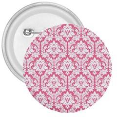 White On Soft Pink Damask 3  Button by Zandiepants