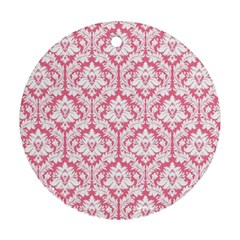 White On Soft Pink Damask Round Ornament