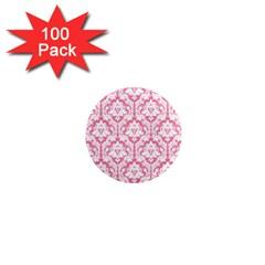 White On Soft Pink Damask 1  Mini Button Magnet (100 pack) by Zandiepants