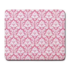 White On Soft Pink Damask Large Mouse Pad (rectangle) by Zandiepants