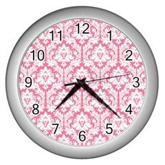 White On Soft Pink Damask Wall Clock (silver) by Zandiepants