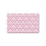 White On Soft Pink Damask Magnet (Name Card) Front