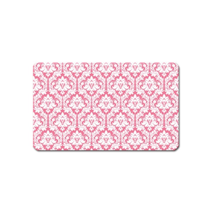 White On Soft Pink Damask Magnet (Name Card)