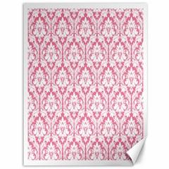 White On Soft Pink Damask Canvas 36  X 48  (unframed) by Zandiepants