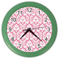 White On Soft Pink Damask Wall Clock (color) by Zandiepants