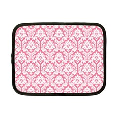 White On Soft Pink Damask Netbook Sleeve (small) by Zandiepants