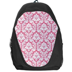 White On Soft Pink Damask Backpack Bag by Zandiepants