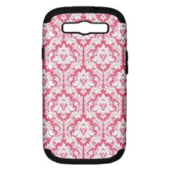 White On Soft Pink Damask Samsung Galaxy S Iii Hardshell Case (pc+silicone) by Zandiepants