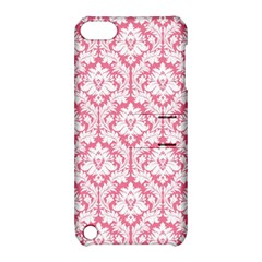 White On Soft Pink Damask Apple Ipod Touch 5 Hardshell Case With Stand by Zandiepants