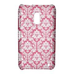 White On Soft Pink Damask Nokia Lumia 620 Hardshell Case by Zandiepants