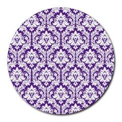 White On Purple Damask 8  Mouse Pad (round) by Zandiepants