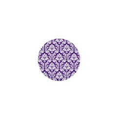 White On Purple Damask 1  Mini Button by Zandiepants