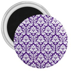 White On Purple Damask 3  Button Magnet by Zandiepants