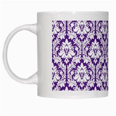 White On Purple Damask White Coffee Mug by Zandiepants