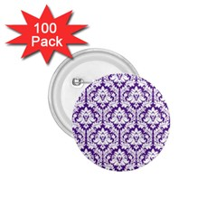 White On Purple Damask 1 75  Button (100 Pack) by Zandiepants