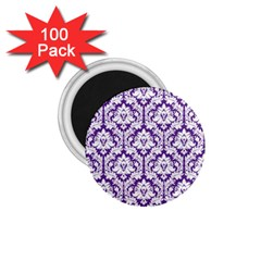 White On Purple Damask 1 75  Button Magnet (100 Pack) by Zandiepants